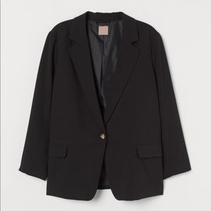 H&M Black 1 Button Long Sleeve Blazer Size Small